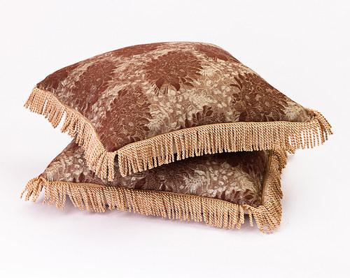 Polštář z hnědého brokátu,48x48 cm