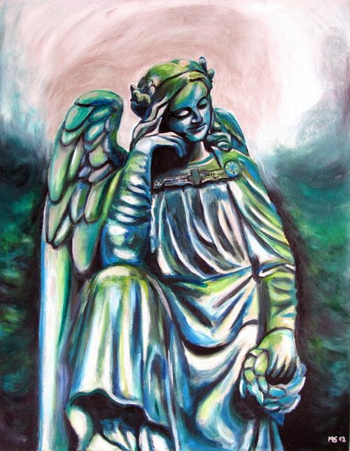 Olejomalba: Pozdrav z Mikulášského hřbitova