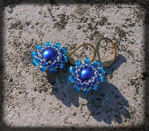 náušničky Fiore - modré