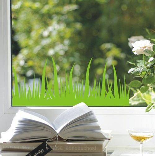 Travička zelená - permanentní samolepka na okno