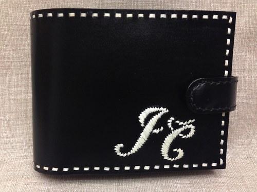 Kožená peněženka pánská zdobená pavím brkem, černá