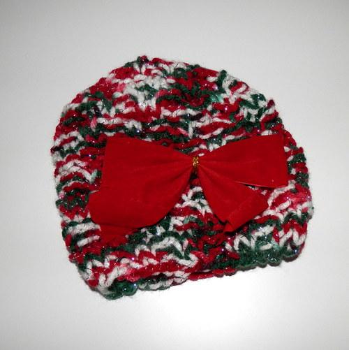 Vánoční pletená čepička s mašlí