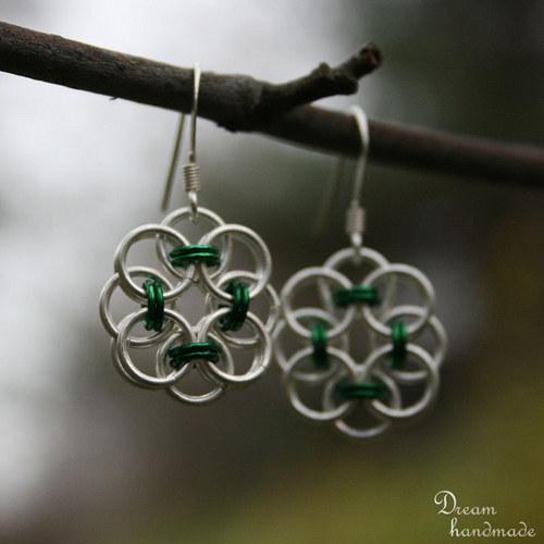 Náušnice Drobečkové v zelené