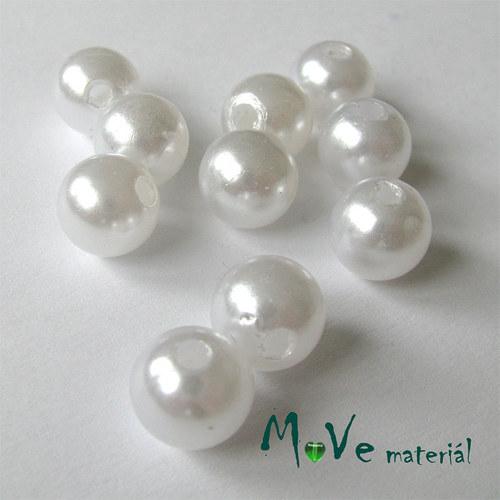 Akrylové voskové perle, 10ks, bílé