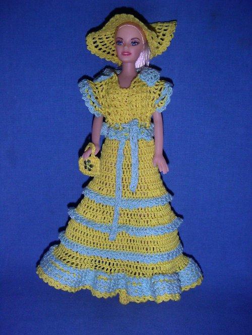 Háčkované šatky na panenku Barbie