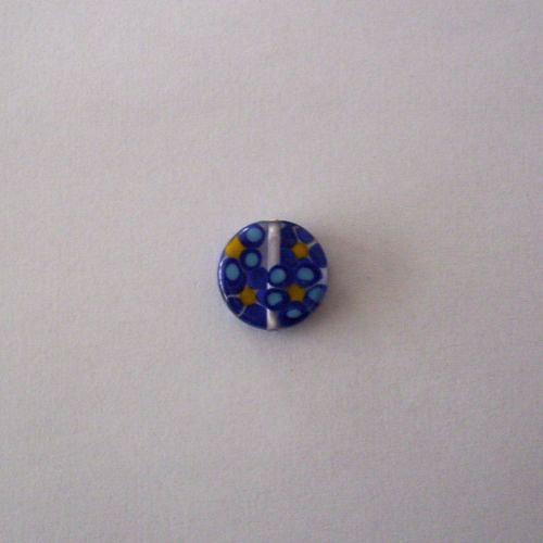 Vinutá perle - krystal s modrými kytičkami - 20 mm