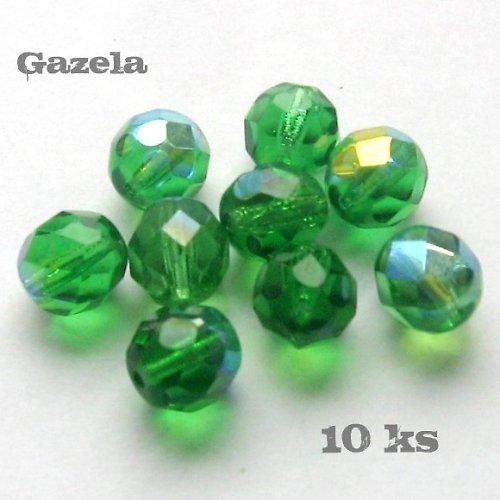 Korálky zelené ploškované - 10 ks