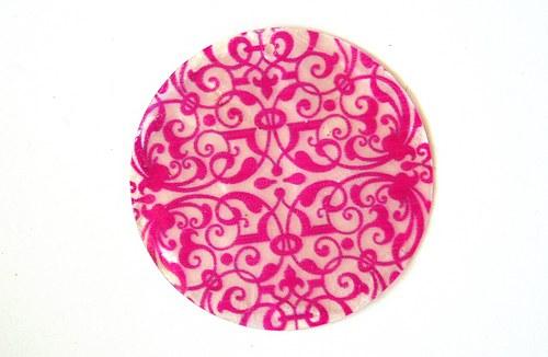 051 perleťové placky tenké- ornament růžový
