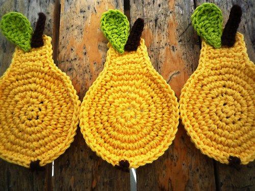 Podložky pod hrníčky - Žlutá hruška - 4ks