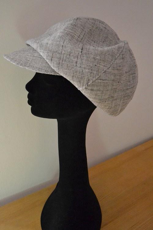 Čepice s kšiltem, osmidílná - len - béž