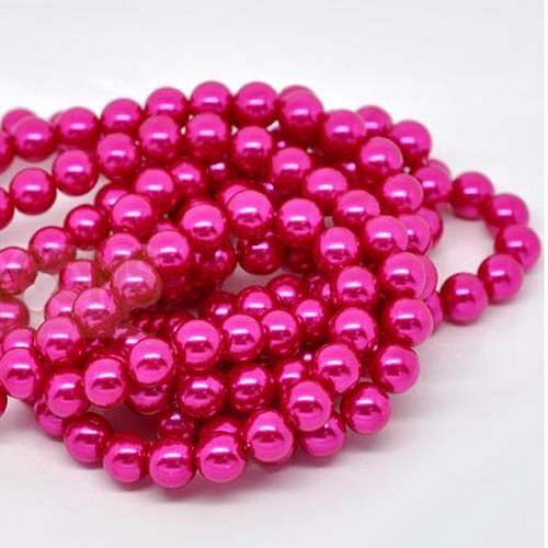 perly skleněné/ růžové - tmavě/ 10mm/ 10ks