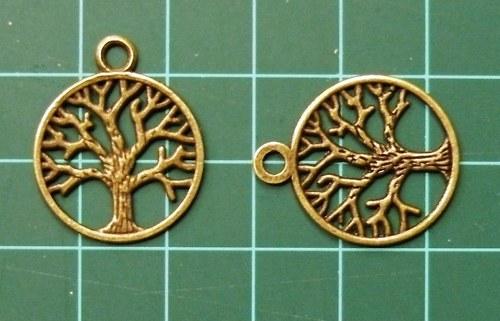 Strom mosaz, v kroužku - přívěsek, 2ks