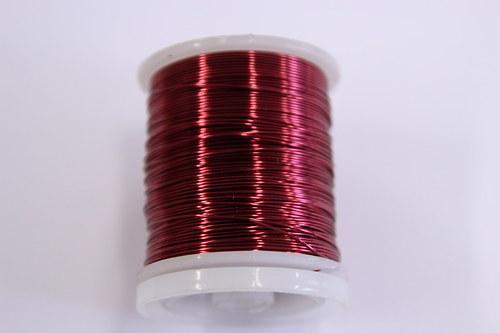 Měděný drátek 0,5mm - bordo, návin 19-21m