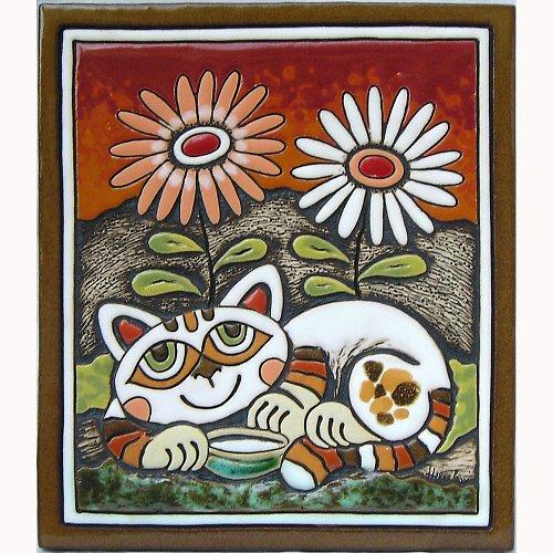 Keramický obrázek - Kočka a kopretiny K-116-CE