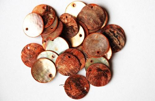 perleťová kolečka oranžová1-2cm