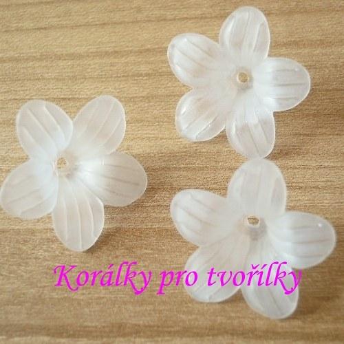 Akrylová květina bílá 4ks/9,- Kč