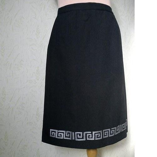Ručně malovaná sukně pro Dámu v černém