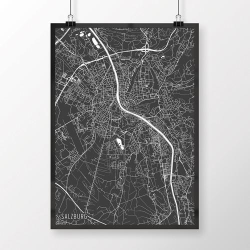 SALZBURG, 50x70cm, minimalistický, tmavě šedý