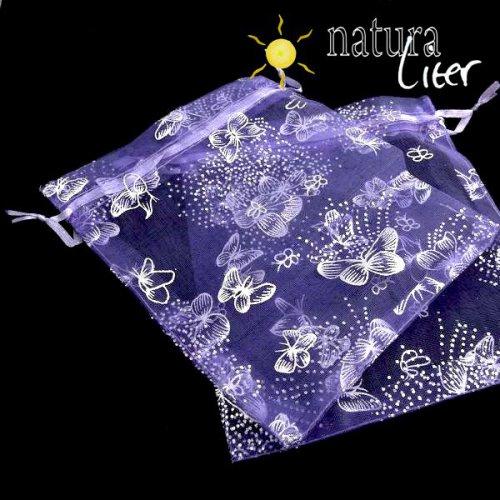 Dárkový organzový sáček fialový s motýly 16x13cm