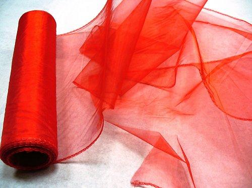 organza červená, obroubená