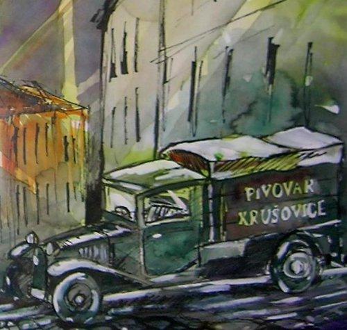 Akvarel, Olomouc navážka piva / Tatra 30 / 1926