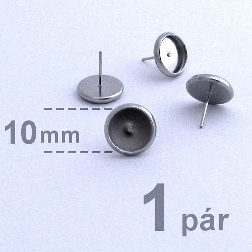Lůžka - puzety  (10mm) - platina - 2ks (1 pár)