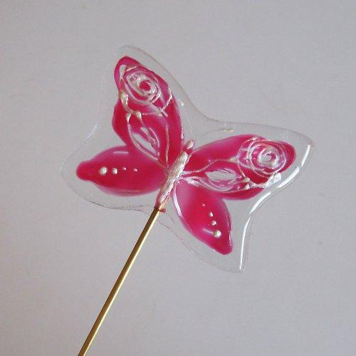 """Skleněný zápich \""""Motýlek růžový\"""""""