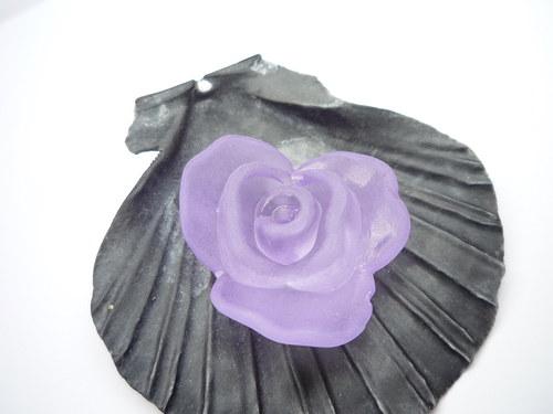 velká  fialová akrylová růže - 2  ks
