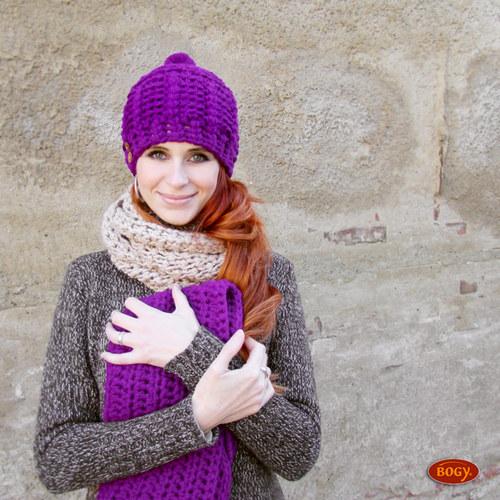e3c7c986604 fialová teplá zimní sada - čepice + nákrčník   Zboží prodejce BOGY ...
