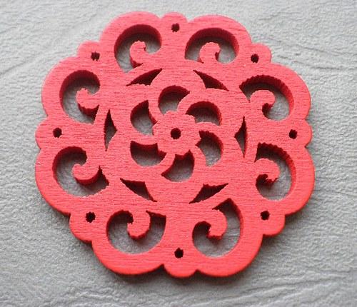 Dřevěná rozetka červená, 4,2mm - 1ks
