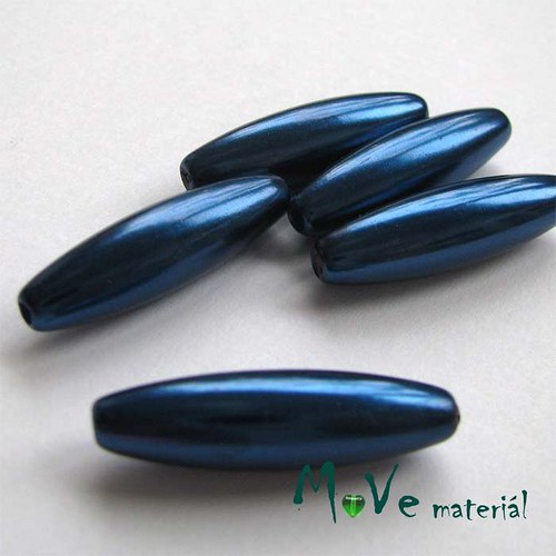 Korálky plast olivka 10x30mm, tm. modrá, 5ks