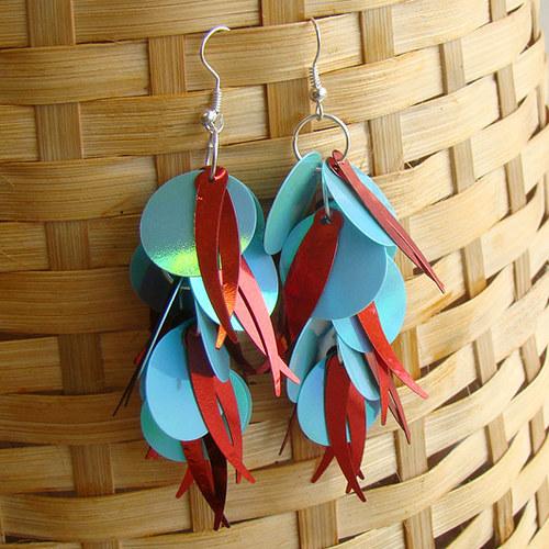 náušnice - flitrové červenotyrkysové střapce