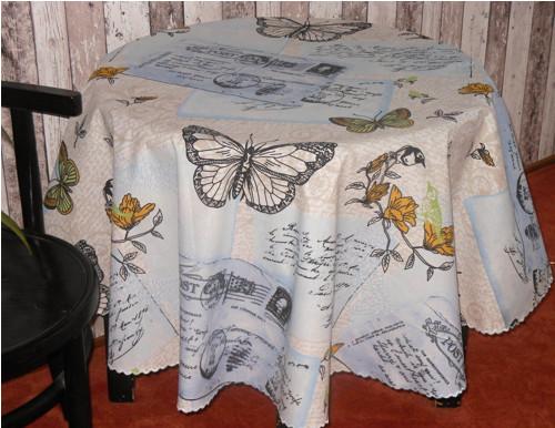 Kulatý ubrus- s motýly-150cm