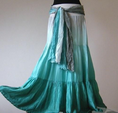 SET hedvábná sukně se spodničkou+šála