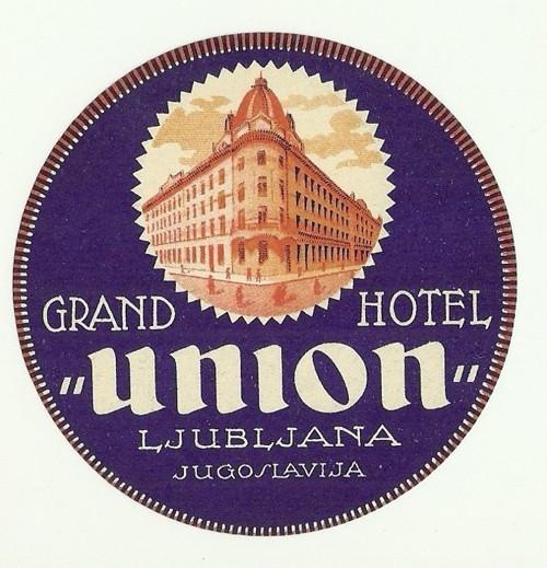 Hotelové nálepky Grand Hotel union