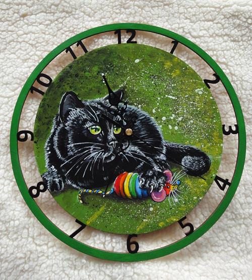 Malované hodiny - JAKO KOČKA S MYŠÍ