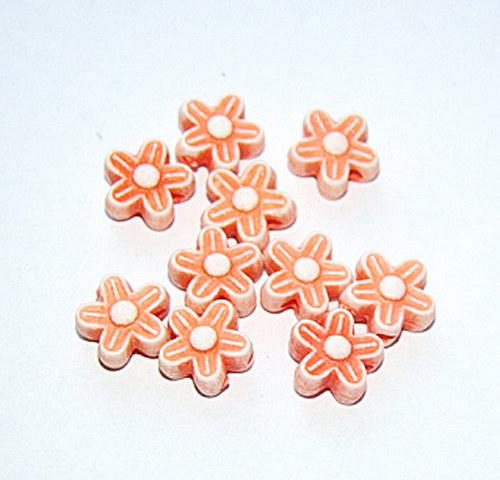 Korálky plast květinka oranžové