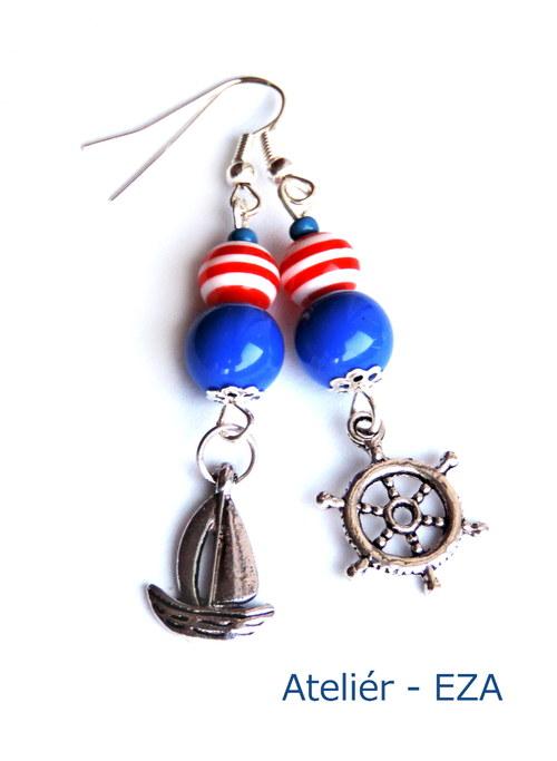 Námořnické náušnice s kormidlem a lodí