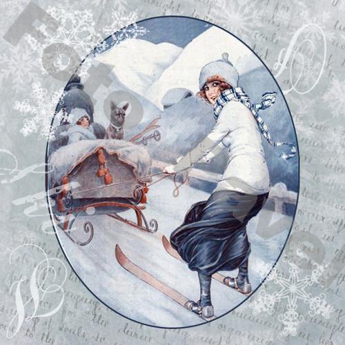 Vintage motiv - lyžařka 2