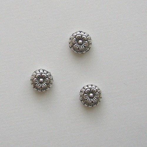 Kytičky tibetské stříbro - 5 ks