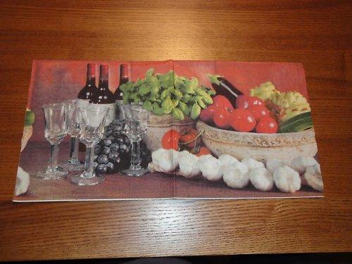 Ubrousek na decoupage - zelenina a víno