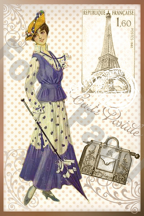 Vintage motiv - dívka se slunečníkem 7