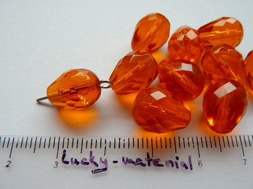 Oranžová hruška broušená 12 x 10 mm ... 10 ks