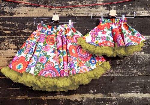 FuFu sukně duo - květy se žlutou spodničkou