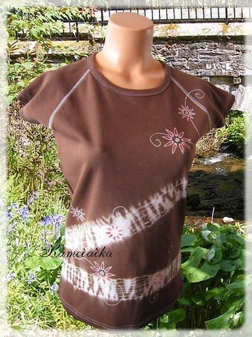 dámské tričko batikované s květy 2