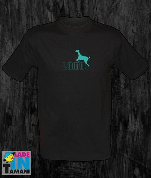 Pánské černé tričko s Lamou 05