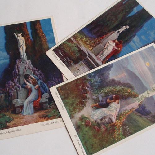 Adolf Liebscher Římské motiv - 3 pohlednice č.1335