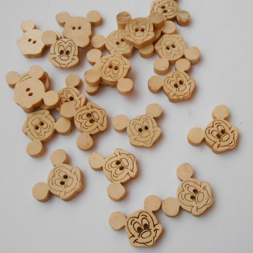 Dřevěné knoflíky MICKEY MOUSE 6ks