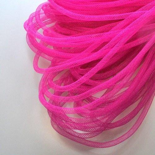 Pružná návleková síťka / 4 mm / Tmavě růžová