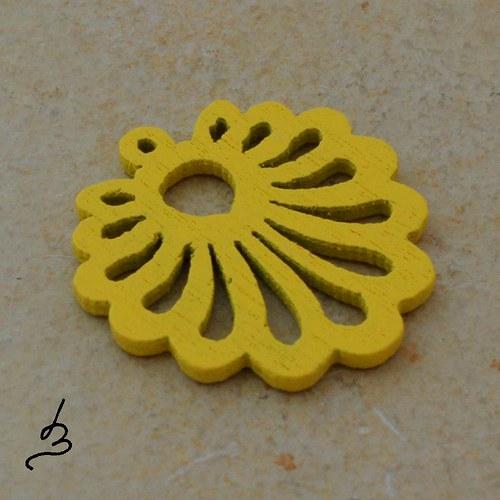Dřevěný vějířek žlutý - 4 ks
